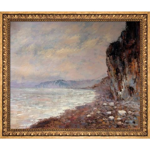 """La Pastiche Cliffs at Pourville in the Fog with Versailles Gold Frame Oil Painting Wall Art, 27.5""""x23.5"""""""