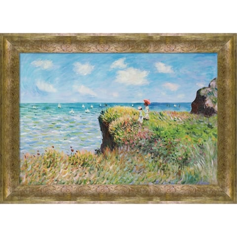 """La Pastiche Cliff Walk at Pourville with Sirocco Frame Oil Painting Wall Art, 43""""x31"""""""
