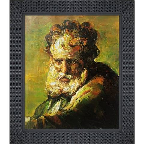 """La Pastiche A Bust of an Old Man with Java Bean Frame Oil Painting Wall Art, 26.5""""x30.5"""""""