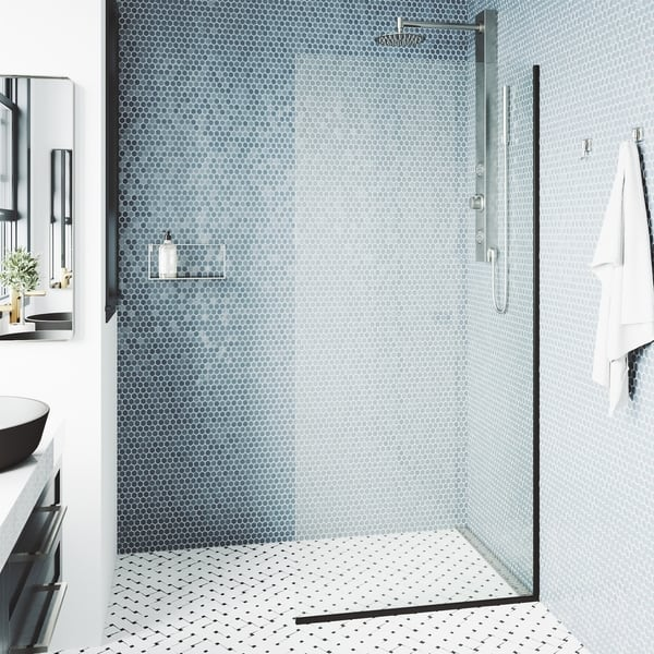 VIGO 34-in Zenith Fixed Frame Clear 3//8 Tempered Class Glass Reversible Shower Screen in Matte Black Finish