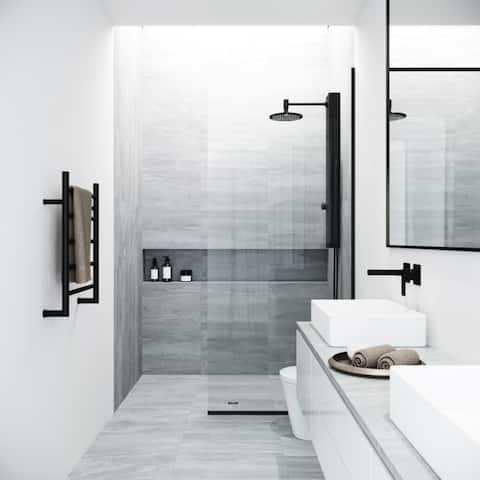 """VIGO 34-in Zenith Fixed Frame Clear 0.375"""" Tempered Class Glass Reversible Shower Screen in Matte Black Finish"""