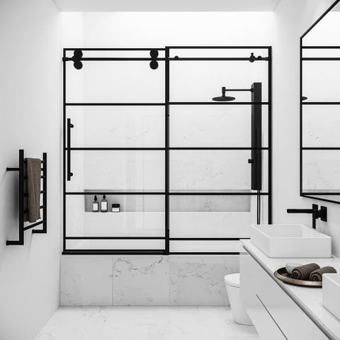 VIGO Grid Elan 60-in x 66-in Sliding Frameless Adjustable Reversible Clear Tempered Glass Tub Door in Matte Black
