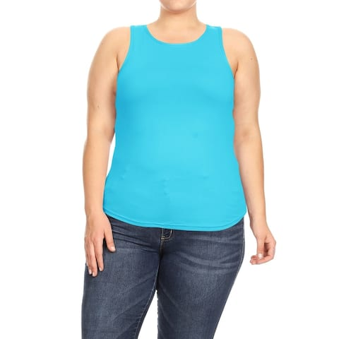 Women's Stretch Casual Racer Back Workout Gym Plus Size Solid Tank Top Tee