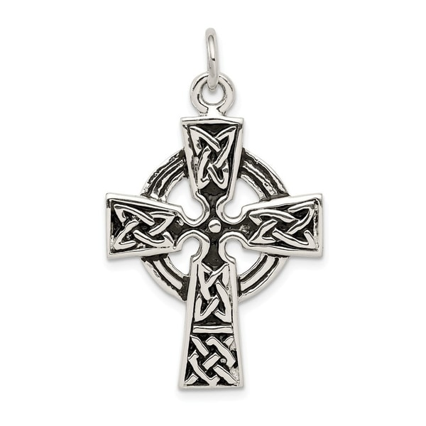 925 Sterling Silver Solid Flat back Polished Cross Pendant