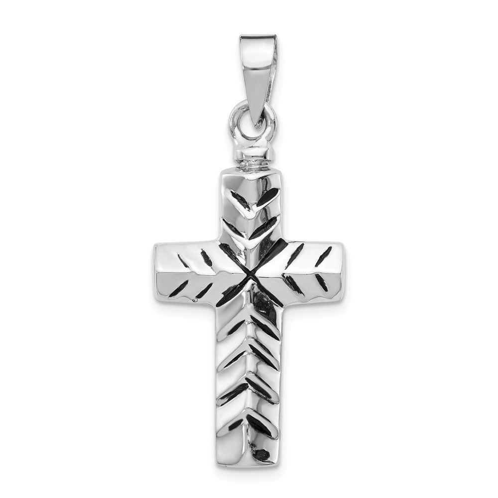 Womens 925 Sterling Silver Rhodium Plated Religious Charms Cross Drop Necklace