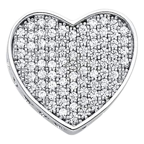 Curata 14k White Gold CZ Cubic Zirconia Simulated Diamond Love Heart Pendant Necklace 15x15mm Jewelry Gifts for Women