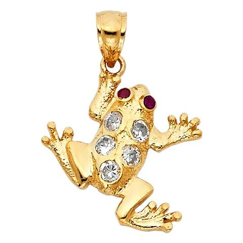 Curata 14k Yellow Gold CZ Cubic Zirconia Simulated Diamond Frog Pendant Necklace 20x20mm Jewelry Gifts for Women