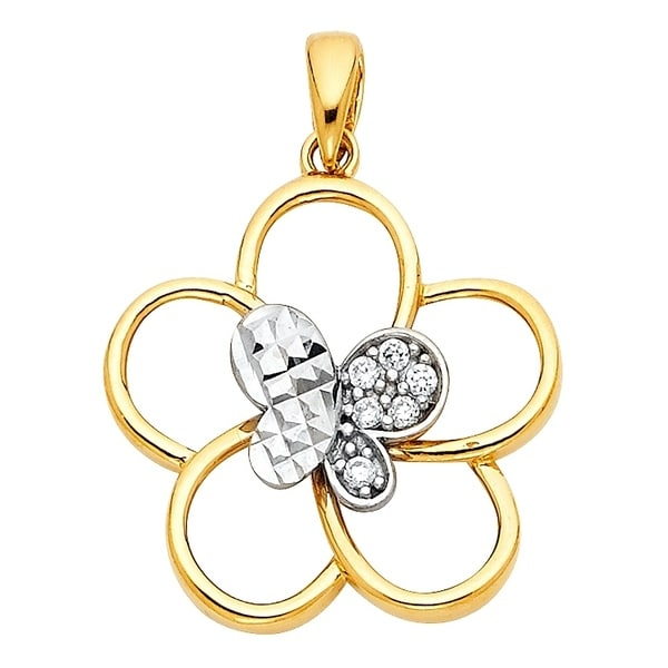 Curata 14k Gold Butterfly Angel Wings CZ Cubic Zirconia Simulated Diamond Pendant Necklace 18x18mm Jewelry Gifts for Women. Opens flyout.