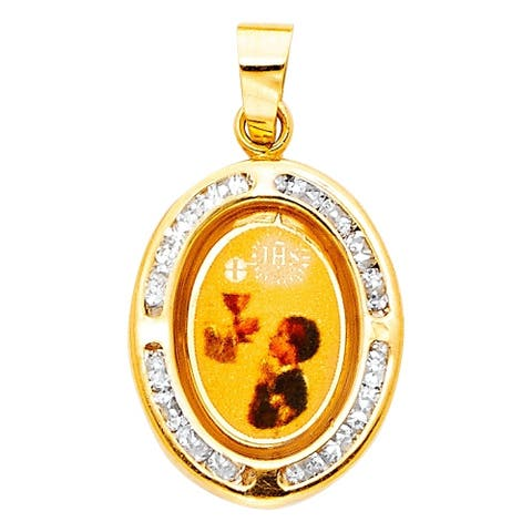 Curata 14k Yellow Gold CZ Cubic Zirconia Simulated Diamond First Communion Picture Pendant Necklace Jewelry Gifts for Women
