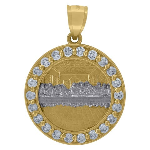 Curata 10k Two tone Gold Unisex CZ Last Supper Religious Round Medal Pendant Necklace Measures 27.3x19.50mm Wide Jewelry Gifts f
