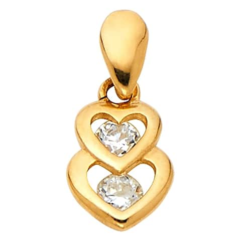 Curata 14k Yellow Gold CZ Cubic Zirconia Simulated Diamond Love Heart Pendant Necklace 7x10mm Jewelry Gifts for Women