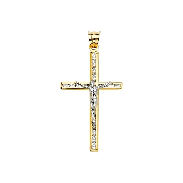 14K Solid White Gold Cubic Zirconia Cross Stud Earrings Crucifix Religious