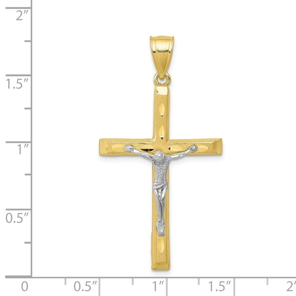 10K /& Rhodium Crucifix Pendant