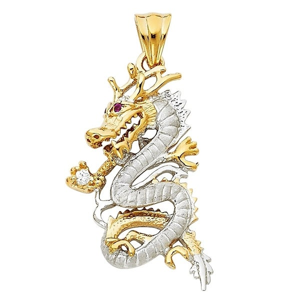 14k Yellow Gold Dragon Pendant