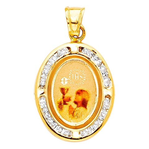 Curata 14k Yellow Gold CZ Cubic Zirconia Simulated Diamond Round First Communion Pendant Necklace Jewelry Gifts for Women