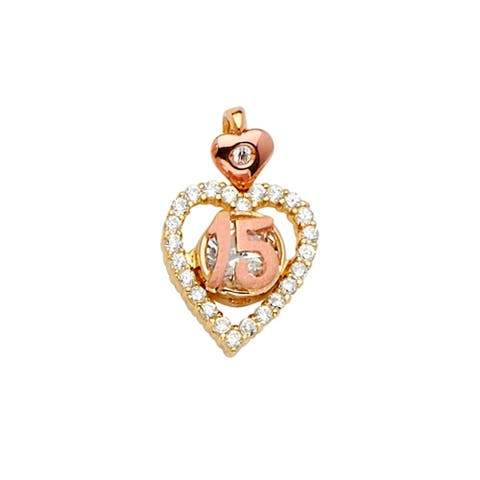 Curata 14k White Gold and Yellow Gold CZ Cubic Zirconia Simulated Diamond Quinceanera Sweet 15 Years Pendant Necklace Half Set 1