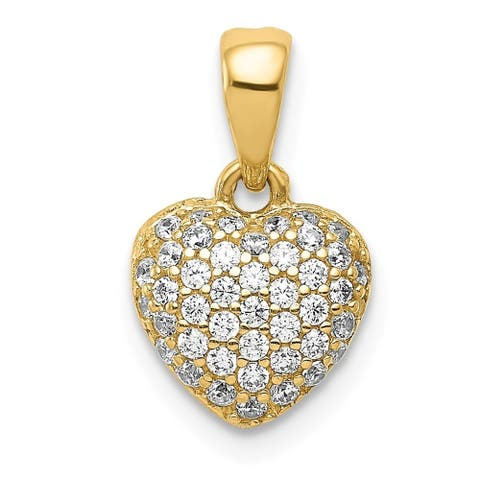 Curata 8.5mm 14k Gold Polished Pave CZ Cubic Zirconia Simulated Diamond Love Heart Pendant Necklace Jewelry Gifts for Women