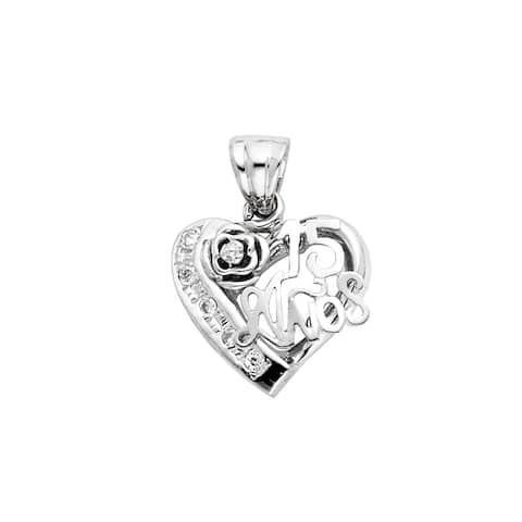 Curata 14k White Gold CZ Cubic Zirconia Simulated Diamond 15 Years Love Heart Pendant Necklace 15x22mm Jewelry Gifts for Women