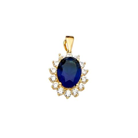 Curata 14k Yellow Gold Blue CZ Cubic Zirconia Simulated Diamond Pendant Necklace Set 12x18mm Jewelry Gifts for Women