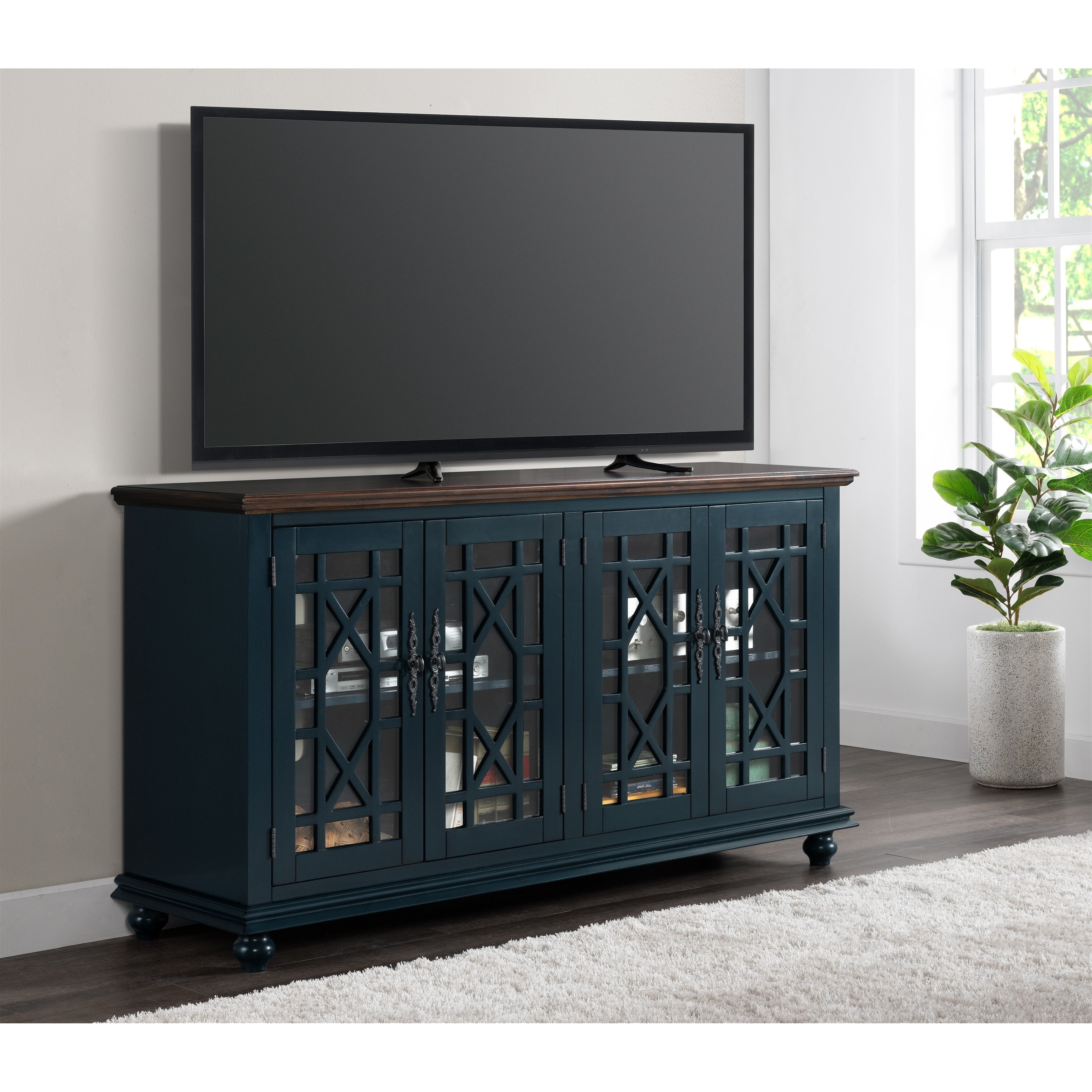 Martin Svensson Home Palisades 63 Tv Stand Catalina Blue With Coffee Top On Sale Overstock 30989070