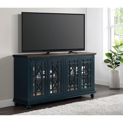 "Martin Svensson Home Palisades 63"" TV Stand, Catalina Blue with Coffee Top"