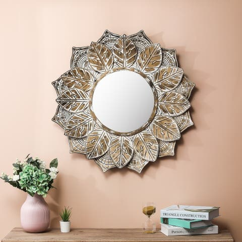 Metal Round Leaf Frame Wall Mirror