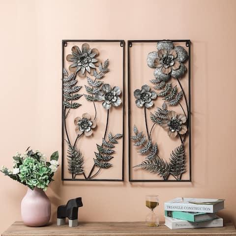 2-Piece Metal Flower Wall Panels