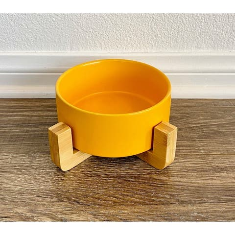 Ceramic Raised Elevated Dog Cat Feeding Bowl with Wooden Stand