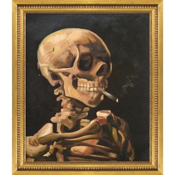 """La Pastiche Skull of a Skeleton with Burning Cigarette with Versailles Gold Queen Frame Oil Painting Wall Art, 25""""x29"""". Opens flyout."""