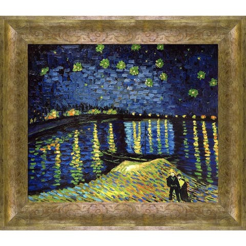 """La Pastiche Starry Night Over the Rhone with Sirocco Frame Oil Painting Wall Art, 31""""x27"""""""