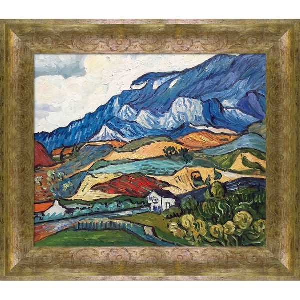 """La Pastiche Les Alpilles, Mountain Landscape near South-Reme, 1889 with Sirocco Frame Oil Painting Wall Art, 31""""x27"""". Opens flyout."""