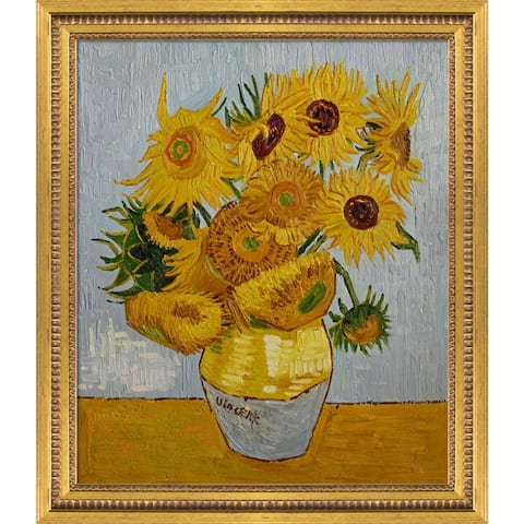 """La Pastiche Sunflowers with Versailles Gold Queen Frame Oil Painting Wall Art, 25""""x29"""""""