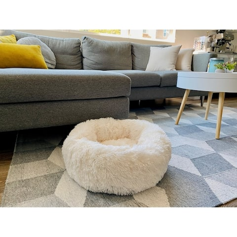 Soft Plush Faux Fur Fluffy Round Donut Pet Bed for Dogs and Cats