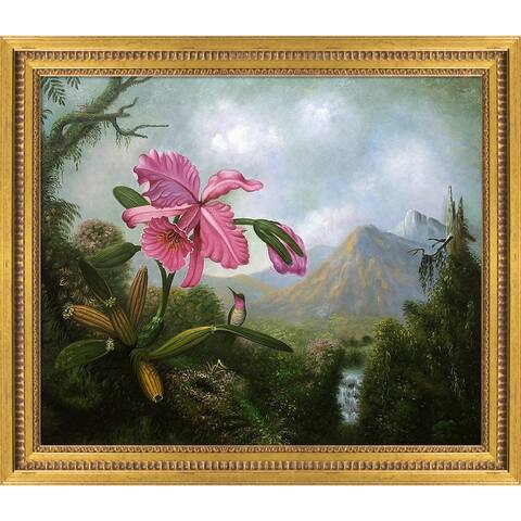 """La Pastiche Orchid and Hummingbird Near a Mountain Waterfall, 1902 with Versailles Gold Queen Frame Wall Art, 25""""x29"""""""