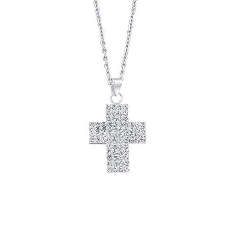Curata 925 Sterling Silver Rhodium Plated Crystal Religious Faith Cross Pendant Necklace 18 Inch Jewelry Gifts for Women