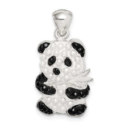 Curata 925 Sterling Silver Simulated Pearl and Preciosa Crystal Panda Pendant Necklace Jewelry Gifts for Women