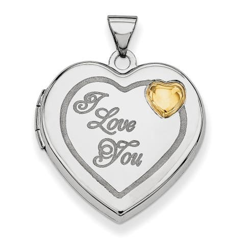 Curata 925 Sterling Silver with 14k Gold Plated 21mm Love Heart Photo Locket Pendant Necklace Jewelry Gifts for Women