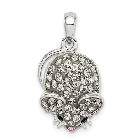 Curata 925 Sterling Silver Grey Preciosa Crystal Mouse Pendant Necklace Jewelry Gifts for Women
