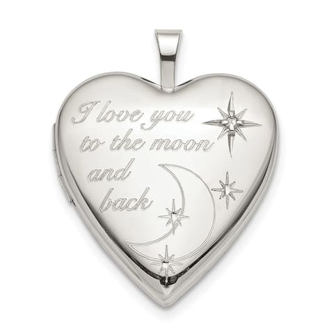 Curata 925 Sterling Silver 20mm Love To The Celestial Moon Diamond Heart Photo Locket Pendant Necklace Jewelry Gifts for Women