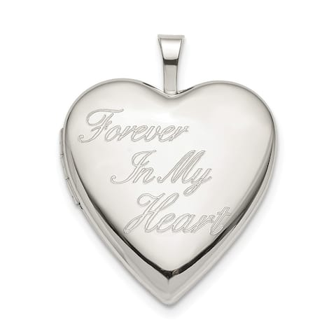 Curata 925 Sterling Silver 20mm Forever In My Love Heart Heart Photo Locket Pendant Necklace Jewelry Gifts for Women