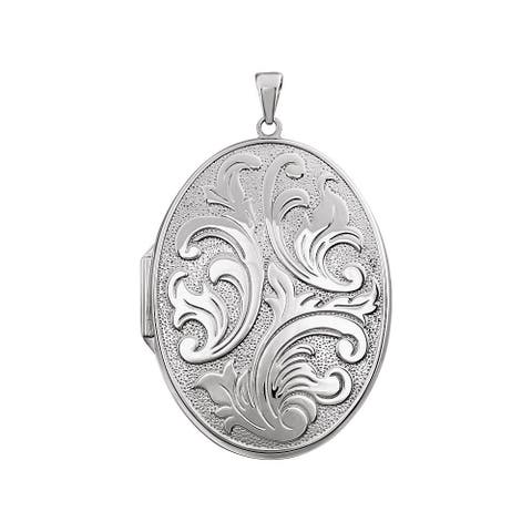Curata 925 Sterling Silver Oval Large Embossed Photo Locket Pendant Necklace Jewelry Gifts for Women