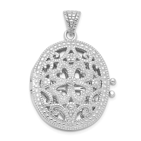 Curata 925 Sterling Silver Solid Polished Prong set Open back CZ Cubic Zirconia Simulated Diamond Photo Locket Pendant Necklace