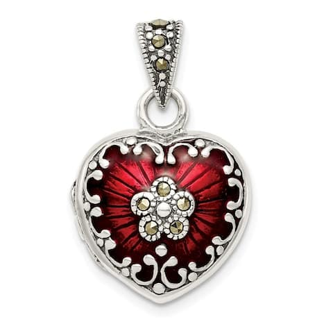 Curata 925 Sterling Silver Antiqued Polished back Red Enamel and Marcasite Love Heart Photo Locket Pendant Necklace 5/8 Inch X 3