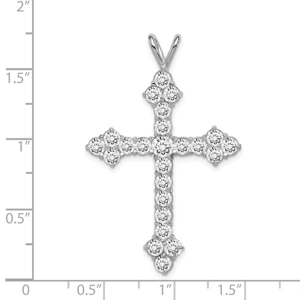 Curata 925 Sterling Silver Solid Polished Open back CZ Cubic Zirconia Simulated Diamond Religious Faith Cross Pendant Necklace J