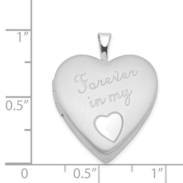 925 Sterling Silver 20mm FOREVER IN MY HEART Locket Pendant