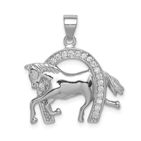 Curata 925 Sterling Silver Solid Polished Open back Rhodium plated Horse and Horseshoe CZ Cubic Zirconia Simulated Diamond Penda