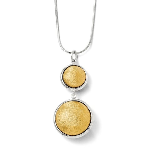Curata 925 Sterling Silver Dangle Lasering 14k Gold Plated Polished and Laser Textured Pendant Necklace Jewelry Gifts for Women