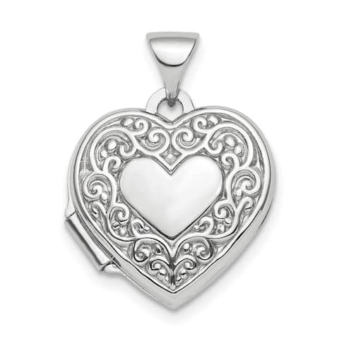 Curata 925 Sterling Silver Rhodium plated Polished Fancy Scroll 15mm Love Heart Photo Locket Pendant Necklace Jewelry Gifts for