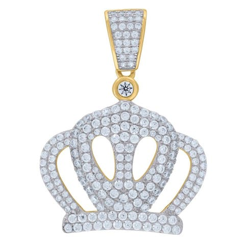 Curata 925 Sterling Silver Yellow tone Mens CZ Cubic Zirconia Simulated Diamond Crown Pendant Necklace Measures 36x27mm Wide Jew