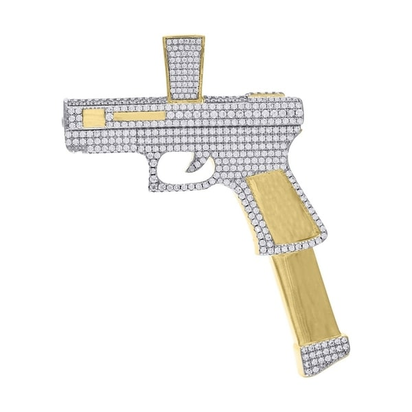 Curata Yellow tone 925 Sterling Silver Mens CZ Cubic Zirconia Simulated Diamond Gun Pendant Necklace Jewelry Gifts for Men. Opens flyout.